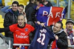 FC巴黎圣徒Germain小组支持者 库存图片