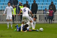 FC迪纳莫队对FC切尔西 U-19欧洲联赛冠军杯 免版税库存照片