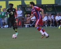 美国职业足球大联盟全明星和FC拜仁慕尼黑队 库存照片