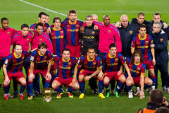 FC Barcellona con la sfera dorata Immagine Stock