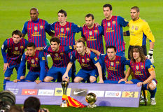 FC Barcellona con la tazza di mondo del randello della FIFA Immagine Stock Libera da Diritti