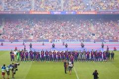 FC Barcelona объединяется в команду представление Стоковые Фото