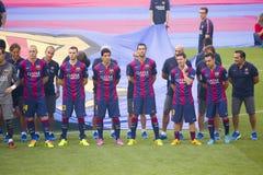 FC Barcelona объединяется в команду представление Стоковые Изображения