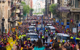 FC Barcelona bus cavalcade Royalty Free Stock Image