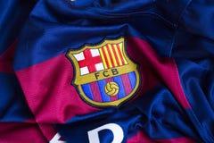 FC Barcelona emblem on jersey. Spanish football club Barcelona emblem on Barcelona jersey Stock Photos