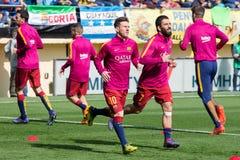 FC Barcelona football players warm up prior to the La Liga match between Villarreal CF and FC Barcelona Royalty Free Stock Image