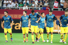 FC Barcelona Football Team. Image at the beginning of the friendly football match between FC Dinamo Bucharest and FC Barcelona, 11th August 2012,National Arena Stock Image