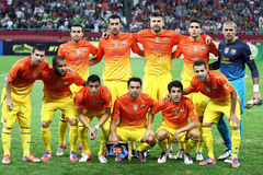 FC Barcelona Football Team. Image at the beginning of the friendly football match between FC Dinamo Bucharest and FC Barcelona, 11th August 2012,National Arena Royalty Free Stock Image