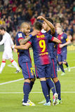 FC Barcelona goal celebration. BARCELONA - APRIL 6: FCB players celebrating a goal at Spanish league match between FC Barcelona and RDC Mallorca, final score 5-0 Stock Images