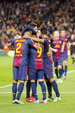 FC Barcelona goal celebration. BARCELONA - APRIL 6: FCB players celebrating a goal at Spanish league match between FC Barcelona and RDC Mallorca, final score 5-0 Royalty Free Stock Photos
