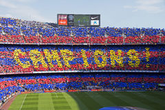 FC Barcelona: La Liga Champions. A photo of the world famous Camp Nou, home of the football club FC Barcelona. This image shows the crowds celebrating Barcelona royalty free stock photo