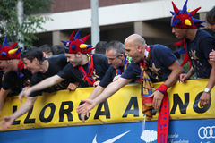 FC Barcelona league champions. FC Barcelona players celebrating the league championship with bus parade in the streets of Barcelona Royalty Free Stock Image