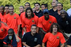 FC Barcelona & NYPD. Group shot of FC Barcelona players posing with members of the NYPD soccer team.  Taken August 04, 2008 in Central Park after team Stock Photo