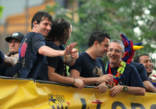 FC Barcelona players Bus Stock Images