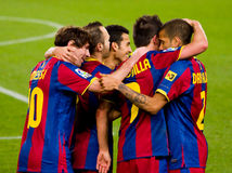 FC Barcelona players celebrating a goal Stock Photo