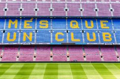 FC Barcelona S Motto In Camp Nou Stadium, Barcelona, Catalonia, Royalty Free Stock Photo