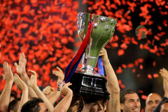 FC Barcelona's players celebrate La Liga. FC Barcelona's players hold up La Liga trophy after the match between Barcelona and Deportivo La Coruna at Camp Nou stock photography