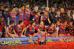 FC Barcelona's players celebrate La Liga. Trophy after the match between Barcelona and Deportivo La Coruna at Camp Nou Stadium on May 15, 2011 in Barcelona stock photography