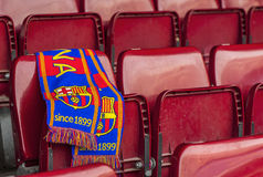 FC Barcelona Scarf on the Tribune seat Stock Images