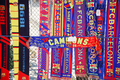 FC Barcelona scarves at an unofficial street shop Stock Photos