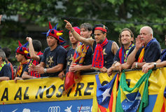 FC Barcelona Spieler Bus Stockfotografie