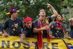FC Barcelona Spieler Bus Lizenzfreie Stockbilder