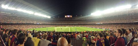 FC Barcelona stadium (Nou Camp). Panoramic view of Barcelona v Malaga at the nou camp stock photo