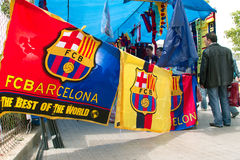 FC Barcelona stand next to the stadium. FC Barcelona stand with gadgets next to the main stadium Stock Photos
