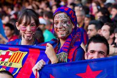 FC Barcelona supporters. BARCELONA - MAY 13: Unidentified FC Barcelona supporters celebrate the Spanish League Championship victory in Camp Nou stadium, on May Stock Photos