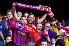 FC Barcelona supporters. BARCELONA - MAY 13: Unidentified FC Barcelona supporters celebrate the Spanish League Championship victory in Camp Nou stadium, on May Royalty Free Stock Image