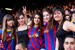 FC Barcelona supporters. BARCELONA - MAY 29: FC Barcelona players and supporters celebrate the European Champions League and Spanish League trophies, on May 29 Royalty Free Stock Images