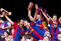 FC Barcelona supporters. BARCELONA - MAY 13: Unidentified FC Barcelona supporters celebrate the Spanish League Championship victory in Camp Nou stadium, on May Royalty Free Stock Photos