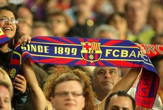 FC Barcelona supporters enjoying Royalty Free Stock Images
