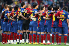 FC Barcelona Team. BARCELONA, SPAIN : Futbol Club Barcelona Team in silence minute before the match between FC Barcelona and Recreativo de Huelva in Nou Camp Royalty Free Stock Photos