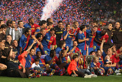 FC Barcelona team celebrate La Liga. BARCELONA, SPAIN: FC Barcelona team celebrate the spanish league trophy after the La Liga match between FC Barcelona and CA royalty free stock photos