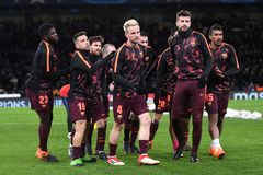 FC Barcelona team. Football players pictured during the UEFA Champions League Round of 16 game between Chelsea FC and FC Barcelona held on February 20, 2018 at Stock Images