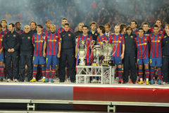 FC Barcelona trophies. FC Barcelona players at the party with the 6 trophies of the year at the Nou Camp Stadium on January 2, 2010 in Barcelona, Spain Royalty Free Stock Image
