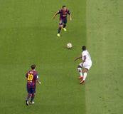 FC Barcelona v Deportivo: Adriano y Messi Imagenes de archivo