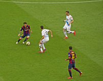 FC Barcelona v Deportivo: Messi & Rafinha Imagens de Stock Royalty Free