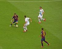 FC Barcelona v Deportivo: Messi y Rafinha Imágenes de archivo libres de regalías