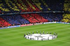 Champions League. FC BARCELONA vs AC MILAN. Champions League match in Camp Nou Stadium, Barcelona stock photography