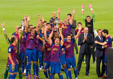 FC Barcelona wins Spanish Super Cup Royalty Free Stock Photography