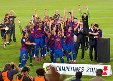 FC Barcelona wins the Spanish Supercup Royalty Free Stock Image