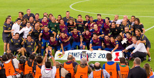 FC Barcelona wins the Spanish Supercup Stock Photos
