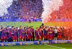 FC Barcelone gagne la ligue Photos stock