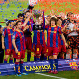 FC Barcelone gagne le championnat espagnol de ligue Image libre de droits