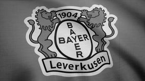 FC Bayer Leverkusen flag is waving, monochrome, tv noise. Close-up of waving flag with FC Bayer Leverkusen football club. FC Bayer Leverkusen flag is waving on stock video