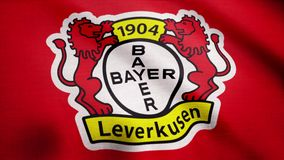 FC Bayer Leverkusen flag is waving on transparent background. Close-up of waving flag with FC Bayer Leverkusen football. Club logo, seamless loop. Editorial royalty free illustration