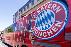 Team bus of the FC Bayern Munich football department. The FC Bayern the most successful club in German football history stock photo