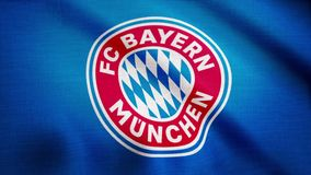 FC Bayern Munich flag is waving on transparent background. Close-up of waving flag with FC Bayern Munich football club. Logo, seamless loop. Editorial animation royalty free illustration